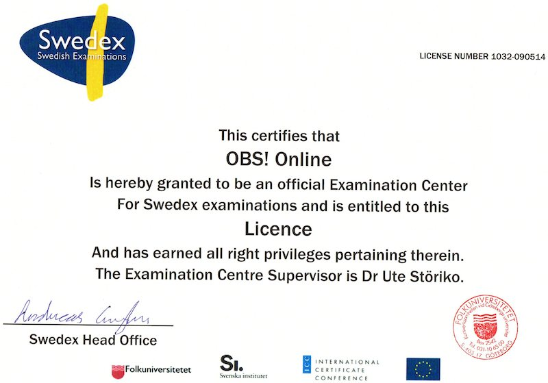 Lizenz SWEDEX-Prüfungen A2, B1, B2 - OBS!